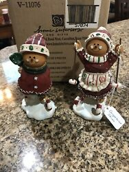New Home Interiors Skating And Skiing Gingerbread Girl And Boy 6in Christmas Figure