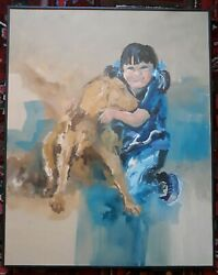 Chuck Parsons Michigan Artist Oil Painting Gir Happilly Embracing Dog