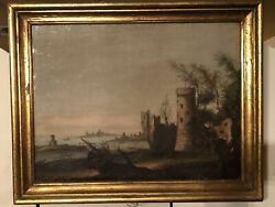Oil Painting On Canvas Antique Framed Oil Painting Circa 1709 - 1784.