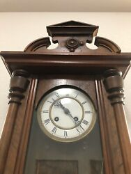 Antique 4ft. Tall Wall Clock 1800s Walnut Wood Made In Germany.