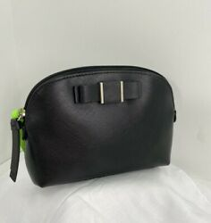 Coach Cosmetic Bag Darcy Black Leather Structured Bow Dome ZIP F52630 M1 $59.99