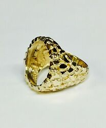 18k Yellow Gold Menand039s 27 Mm Nugget Coin Ring For 1/4 Oz Us Coin - Mounting Only