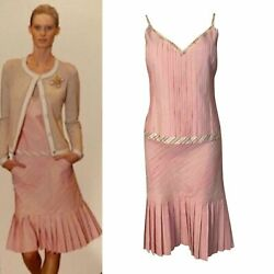 03p, 2003 Spring Pink Camisole Top Matching Pleated Skirt Set Fr 42 Us 8