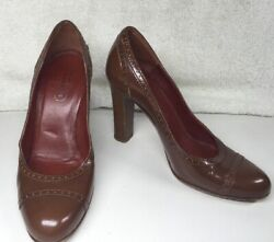 COACH Cognac Leather CAMMY Brogue Pumps 6 B Perforated Detail Heels $34.99