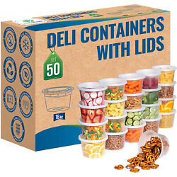 Food Storage Deli Containers With Airtight Lids Slime Small Round 16oz - 50 Pack