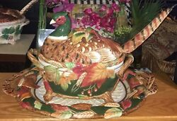 Fitz And Floyd Huntington Pheasant Soup Tureen Ladle And Underplate Rare Htf