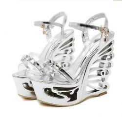 Sexy Women Transparent Platform 15cm Hollow Heel Peep Toe Sandals Nightclub Club