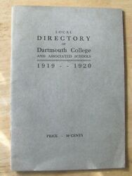 1919 - 20 Dartmouth College Directory , Staff And Students Booklet
