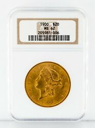 1900 20 Gold Liberty Double Eagle Graded By Ngc As Ms-62