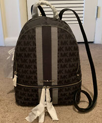 Brand New Michael Kors Rhea Black Multi Stripe Logo Medium Backpack $125.00