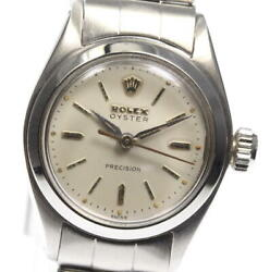 Rolex Oyster Precision 6410 Vintage Silver Dial Hand Winding Ladies Watch_570440