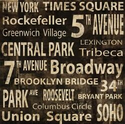 36wx36h N.y. By Luke Wilson - New York Broadway Central Park Choices Of Canvas