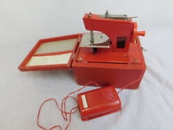 Vintage Electric Little Modiste Tiny Sewing Machine Japan Red With Case Childs