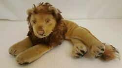 Vintage 50and039s Steiff Laying Down Leo Lion Stuffed Animal 12 Long Approx