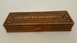 Vintage Inlaid Wood Marquetry Cribbage Board With Drawer Antique