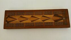 Antique Inlaid Wood Cribbage Board Tapestry Back Marquetry