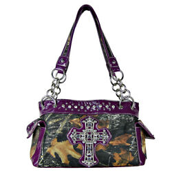 PURPLE RHINESTONE MOSSY CAMO LOOK CROSS SHOULDER HANDBAG COUNTRY WESTERN BLING $17.69