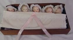 Vintage Bisque Porcelain Jointed Baby Girl Dolls Dionne Quintuplets Cradle