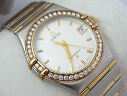 Excellent Gents Omega Constellation 18k Gold And Ss Diamond Watch Extremely Rare