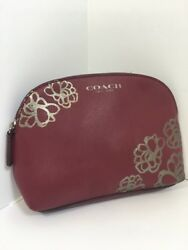 Coach Cosmetic Bag Silver Floral Etched Pouch Burgundy Leather Zip M8 $59.00