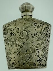 Vintage Japanese Engraved Perfume/scent Or Snuff Bottle 950 Sterling Silver