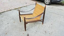 Rare Mid Century Modern Frank Kyle Woven Reed,rosewood And Leather Lounge Chair
