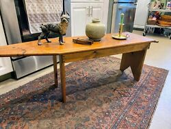 Antique Vintage Primitive Style Wooden Ironing Board Customized As Coffee Table