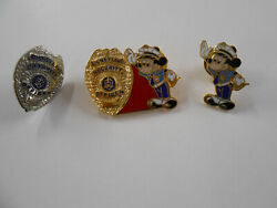 Lot Of 3 Rare Disneyland Security Officer Pins Cast Nice Disney Mickey Mouse