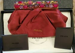 PRADA Raso Stones Red Satin Frame Clutch Evening Bag Handbag $499.99