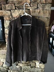 Womenand039s Express Brown Suede Leather Jacket Size L Large Button Front Raw Edges