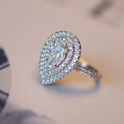 1.15 Carat Pear Cut Diamond Engagement 14k Solid White Gold Rings Size 6 7 8 9