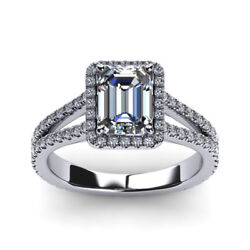 Diamond 1.20 Carat Engagement Ring Emerald Cut 14k Solid White Gold Size 6 7 8 9