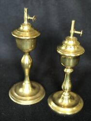 Pair Of Vintage Solid Brass Oil Lamps. Very Good Quality, Marked