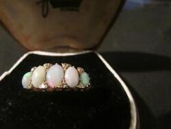 Stunning Antique Quality 18ct Gold Natural Opal And Diamond Ring