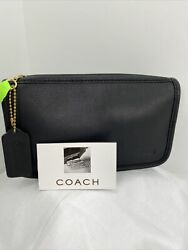 Coach Cosmetic Bag Vintage Black Leather Bag Striped Zip M7 $149.99