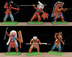 Britains Deetail 1st Version Indians - 6 In 6 Poses - 7540 Vg-ex Condition