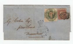 1851 Sg 55 / 1/- Embossed + 1d Star On Cover To Mauritius - 27/8/1854