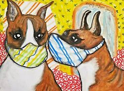 Boxer Quarantine Collectible ACEO Dog Art Print 2.5 x 3.5 Signed by Artist KSams