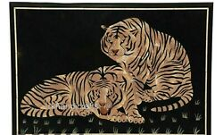 Unique Tiger Art Inlaid Conference Table Top Marble Dinning Table 36 X 48 Inches