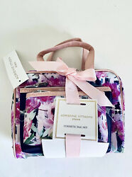 New With Tags Adrienne Vittadini Cosmetic Bag Set of 3 Pink Purple Blue Floral $21.00