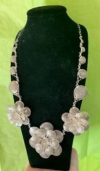 Hand Made Sterling Silver Filigree Twisted Wire Three Flowers Festoon Necklace