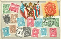 Pvt. Mailing Card Rare Souvenir Of Hawaii Stamps Images H.i. Postage Stamp 2c