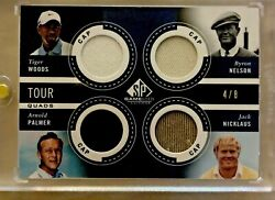 2013 Sp Game Used Tour Gear Tiger Woods Nelson Palmer Nicklaus Cap 4/8 Rare