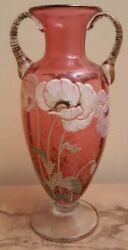 Antique Moser Heavy Hand Enamelled Enamel And Gold Accents Ruby Red Glass Vase