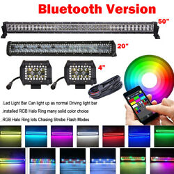 50 Led Light Bar + 20 + 2x 4 Pods Bluetooth Rgb Halo Rings Control Together