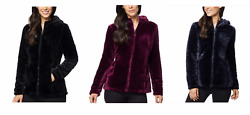 New 32 Degrees Womenand039s Cozy Hooded Plush Faux Fur Jacket Black Navy Wine