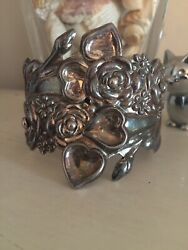 Vintage Taxco Mexico Sterling Silver Hinge Cuff Bypass Clamper Bracelet Heavy