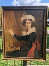 Antique Oil Painting Portrait Of Young Women Copy Of Vigee-lebrun's
