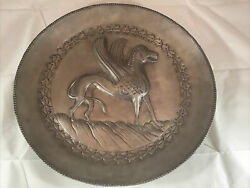 """Vintage 15.5"""" Etain Fin Pewter Charger Wall Plate Mythological Winged Animal"""