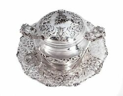 925 Sterling Silver Chased Garland Cut Out Honey Dish With Glass Insert And Tray